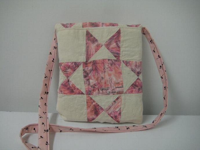 Festival Bag - Pink With Black Flowers - Shoulder Strap - Quilt Block -