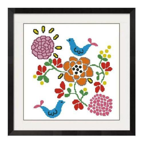 ALL STITCHES - BIRDS AND FLOWERS CROSS STITCH PATTERN .PDF -243