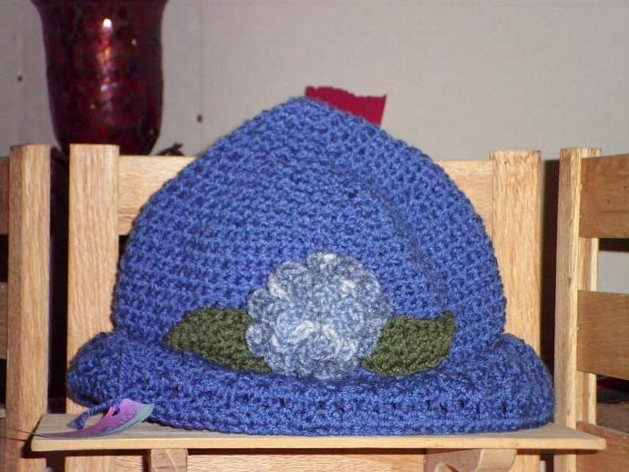 Ladies Blue  Hat with Flower