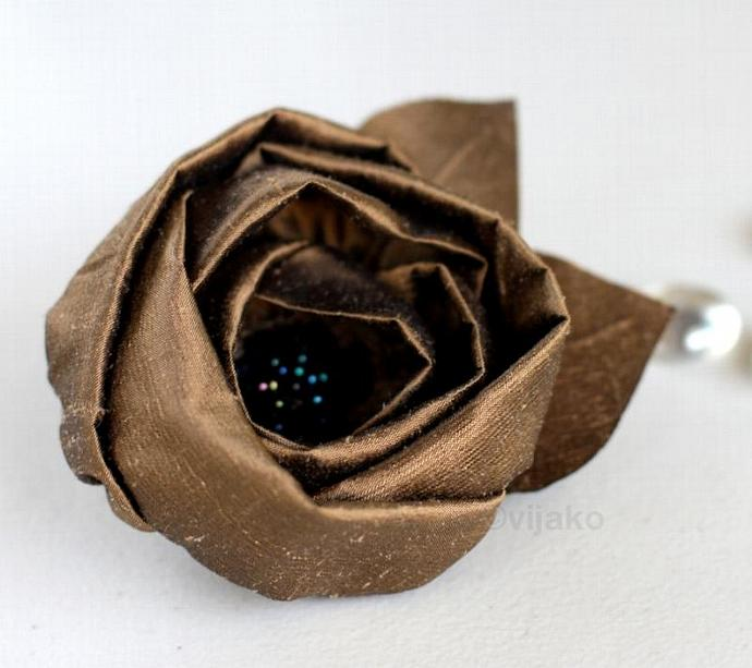 Brown silk flower hair clip or brooch