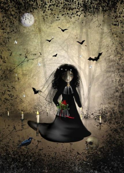 Gothic Wedding Girl Art Print -- Gothic Bride