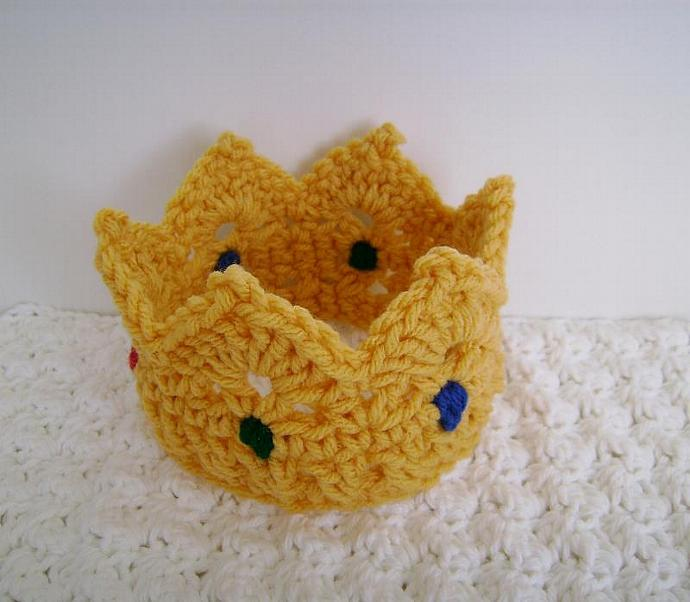 Crochet Baby Crown with Jewels Photo Prop