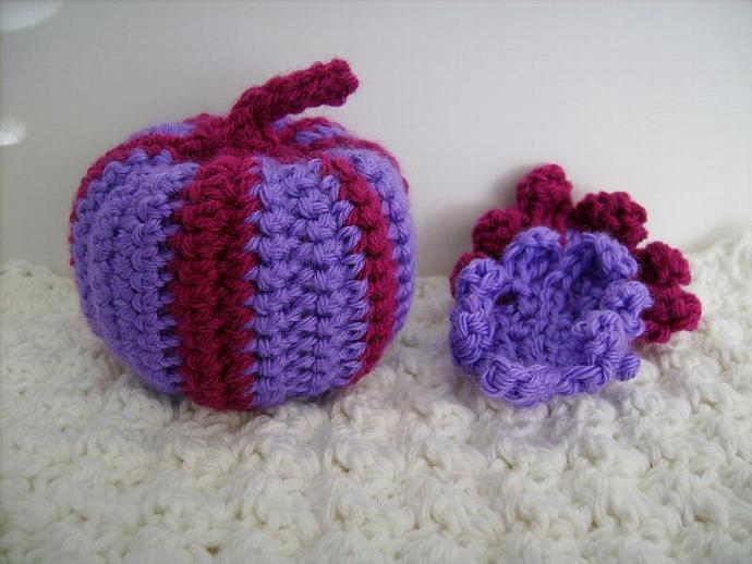 Custom Crochet Pumpkin in Purple and Magenta, Fuchsia