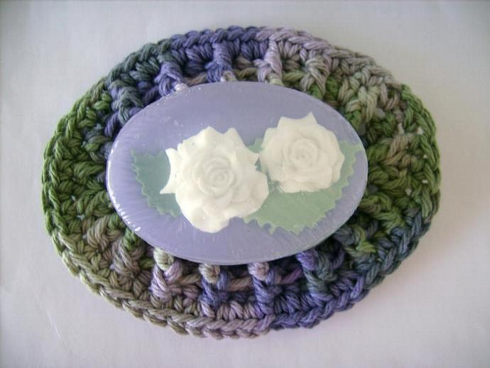 Custom Crochet Special Set of One Large and One Mini Soap Dish, in Sonoma, Ocean