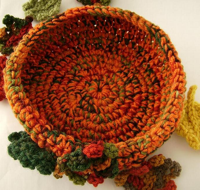 Autumn Harvest Orange Crochet  Bowl with Decor  Leaves