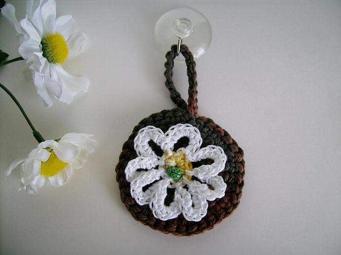 Dishwasher Clean-Dirty Sign Daisy Flower with ladybug and Suction Hook Crocheted