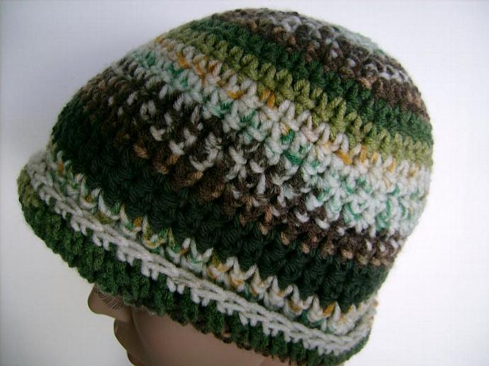 Green and Brown Crocheted Jacquard Print Beanie