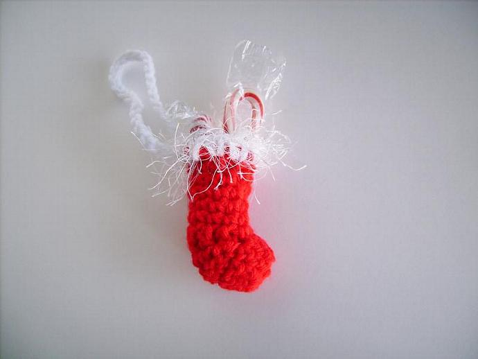 Merry Christmas Stocking Ornament Crocheted in Red