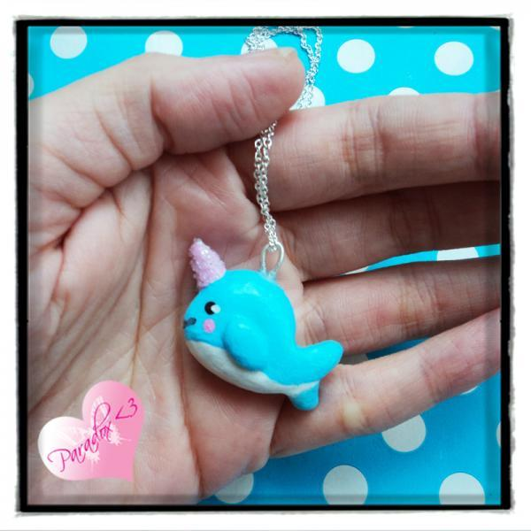 Sparkly Narwhal Silver Plated Charm Necklace Kawaii Kitsch Cute Japan