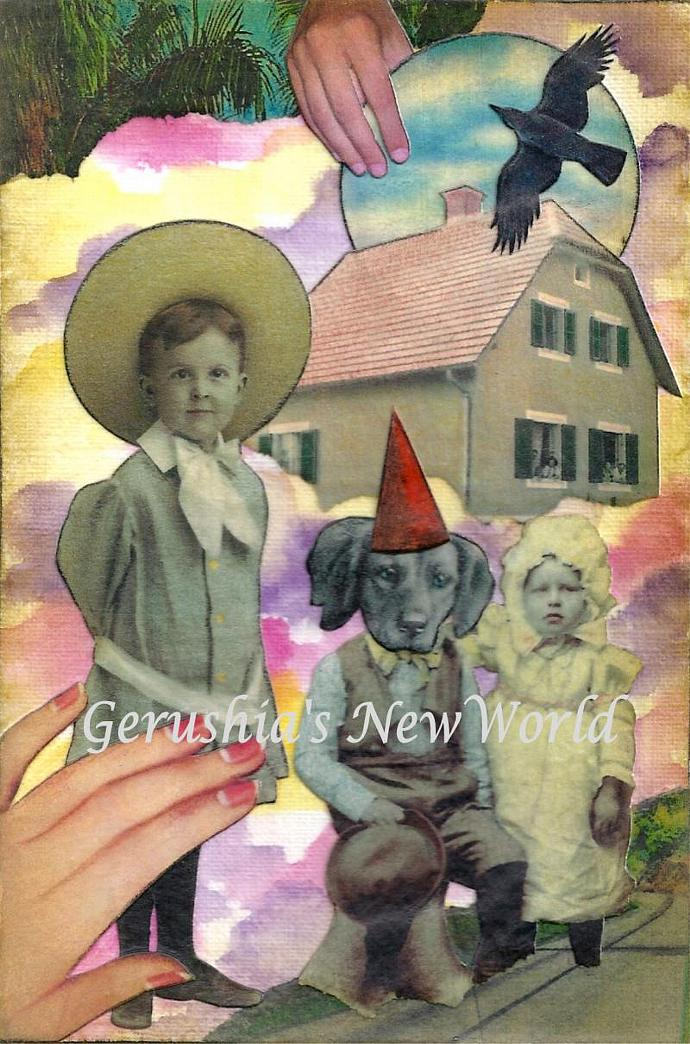 The Temporary Hat ~ Anthropomorphic Watercolor Collage Print
