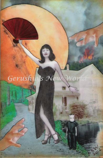 Fanning the Flames ~ Watercolor Collage Print