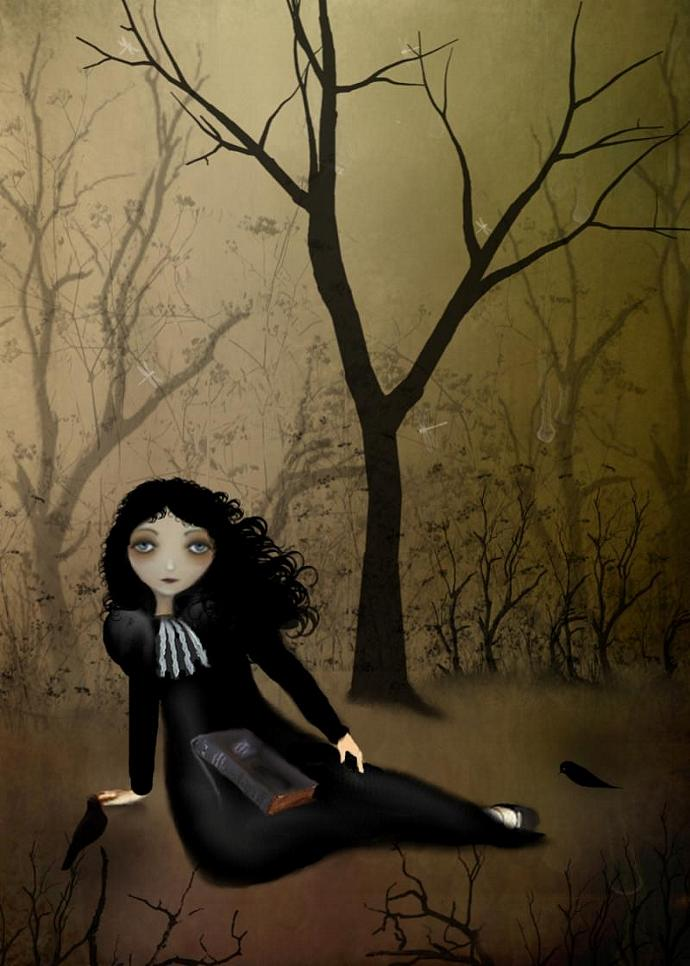 goth girl art, melancholy art, Her Favorite Place