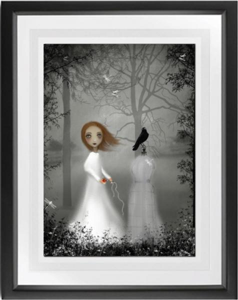 Gray Melancholy Girl Art Print --- The Seamstress -- 8x10