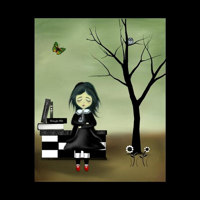 Whimsical  Goth Girl and Owls Art Print -- The Owl Whisperer
