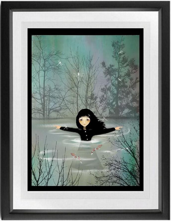 whimsical art, goth girl art, koi, Wash It Away