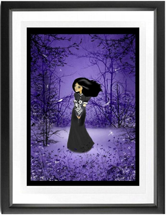 melancholy art, goth girl art, woodland, purple, Lost In Thought