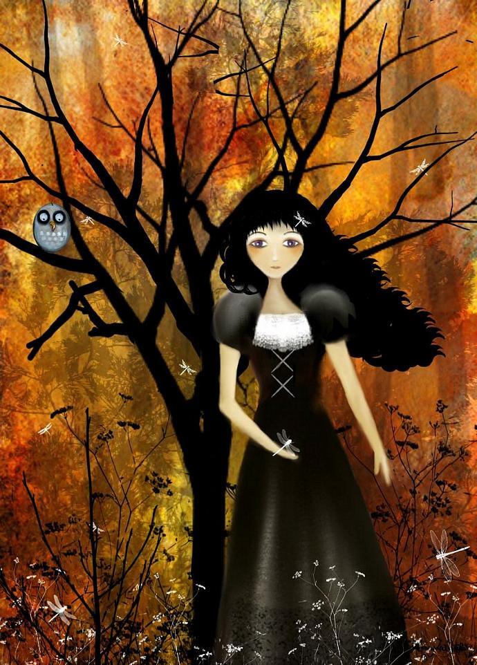 autumn decor, goth girl print, In An Autumn Forest