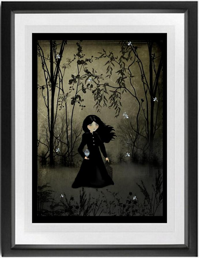 goth girl art, melancholy art, woodland, The Edge of Night