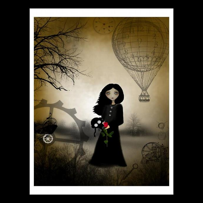 steampunk art print, melancholy art, goth girl art, Every Rose