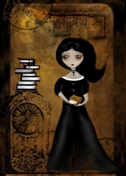 Steampunk Goth Girl Art  Print - Steampunk Bibliophile