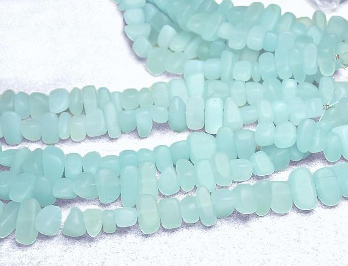 Aqua Beach Pebbles- recycled sea glass beads