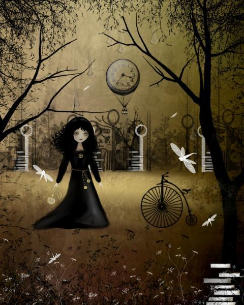 Steampunk Goth Girl Art Print -- 8x10 -- Another Time -- Clockworks - Dragonfly