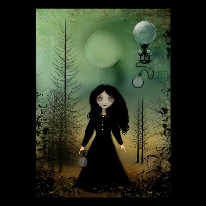 Steampunk Goth Girl Art Print -- 8x10 -- Time Flies