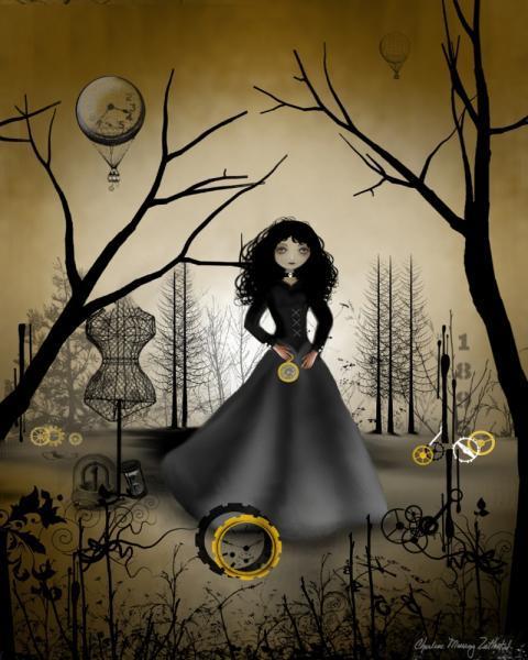 Steampunk Art Print -- 8x10 -- Steampunk Salvage -- Goth Girl - Clockworks -