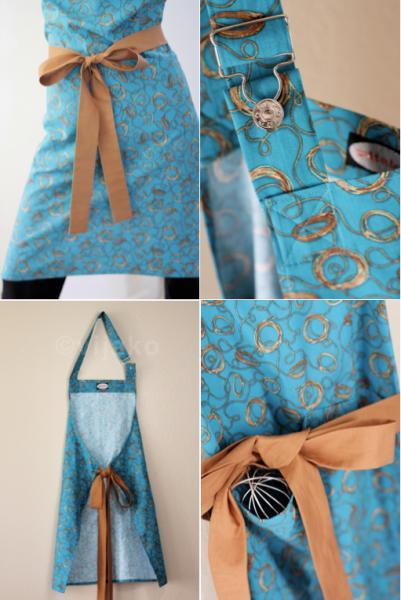 Adjustable turquoise and golden hostess full apron