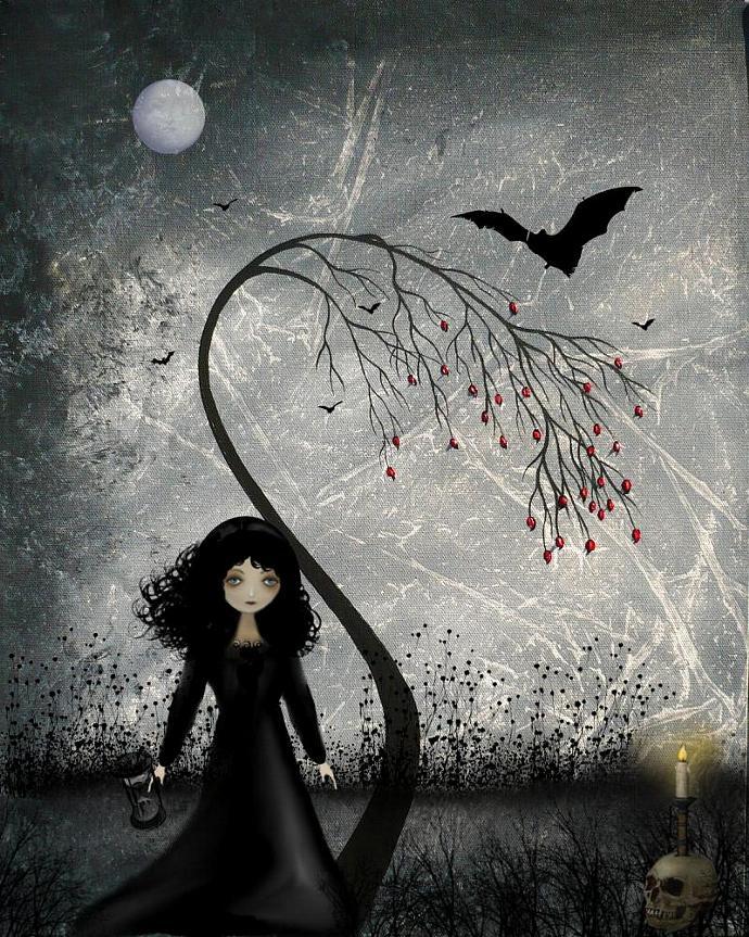 Dark Goth Girl Art Print --- Hallows Eve -- 8x10