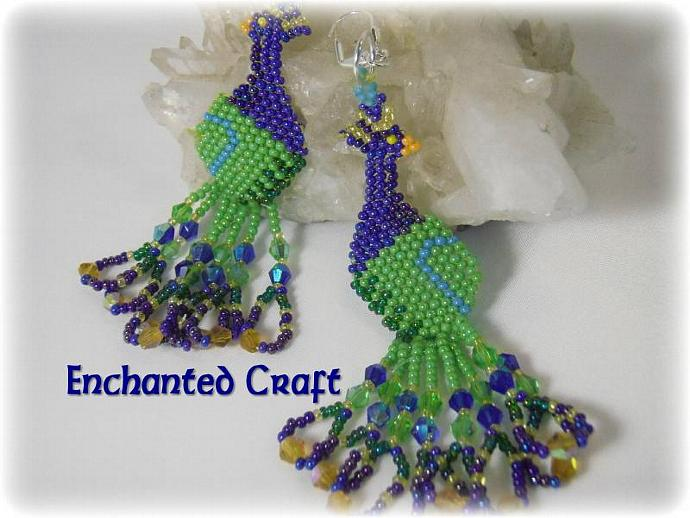 Peacock Seed bead earrings- lever back