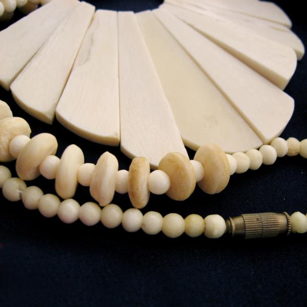 Large Fan Bib Bead Necklace Cream Organic Material