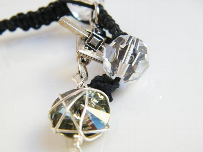Crystal Clear Smokey Gray Bracelet Swarovski Crystal Black Leather