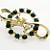 Vintage Emerald Rhinestone Circles and Bows Brooch