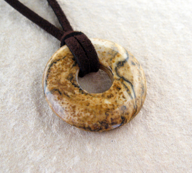 Picture jasper donut necklace with faux suede