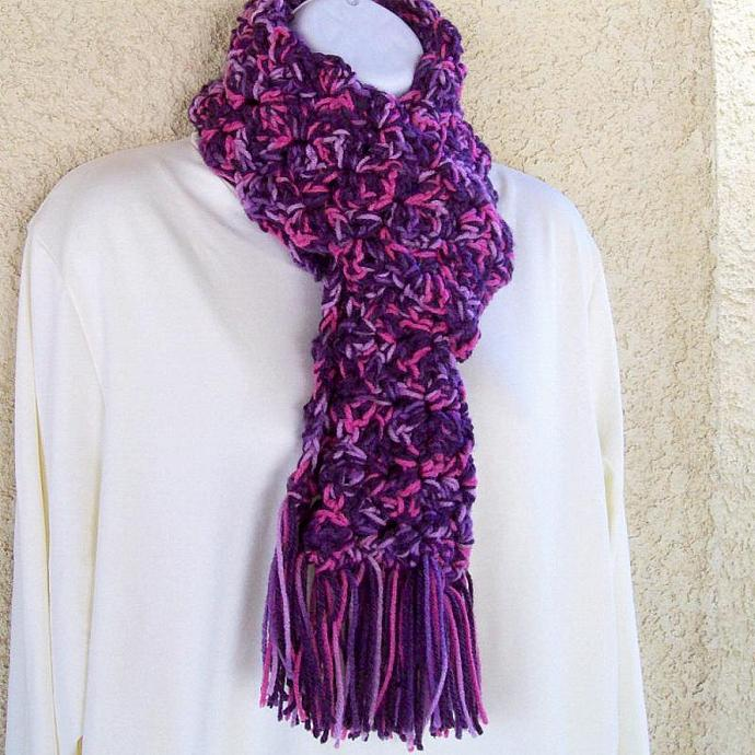 Winter Scarf, crocheted, chunky, 60 inches long - Plum Medley