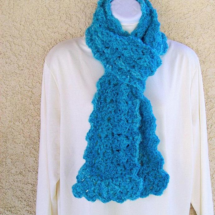 Winter Scarf, crocheted, 70 inches long - Shaded Turquoise