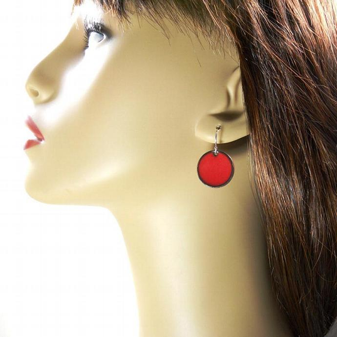 Geranium Red Penny Earrings
