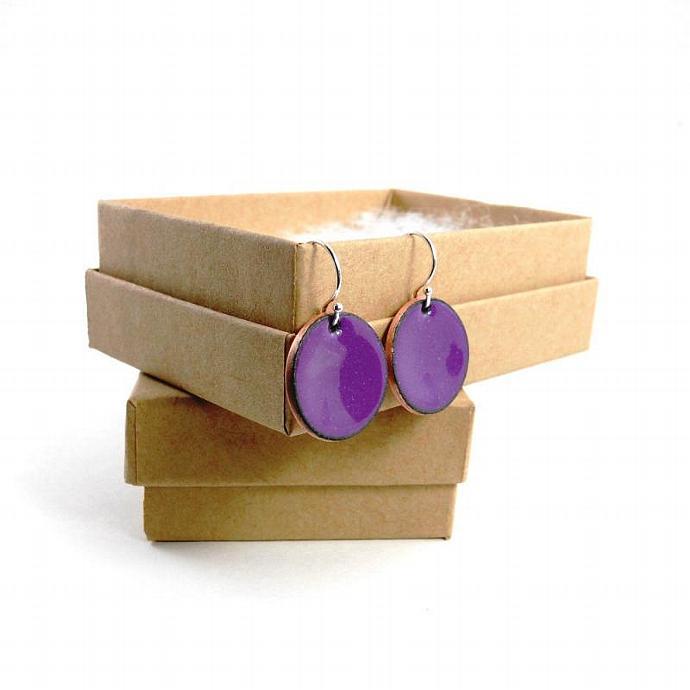 Lavender Hyacinth Purple Enamel Penny Earrings