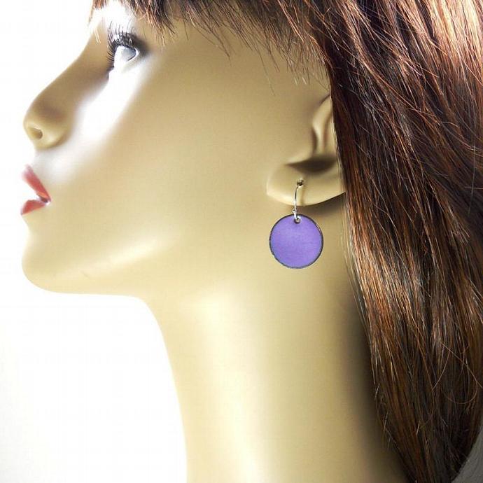 Purple Penny Earrings