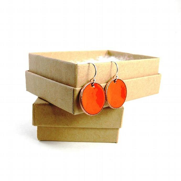 Orange Penny Earrings