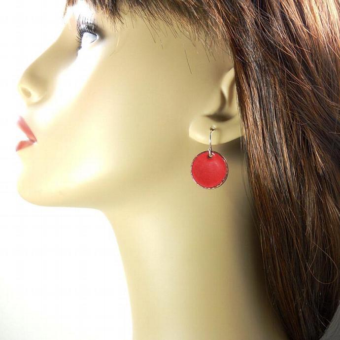 Red Penny Earrings