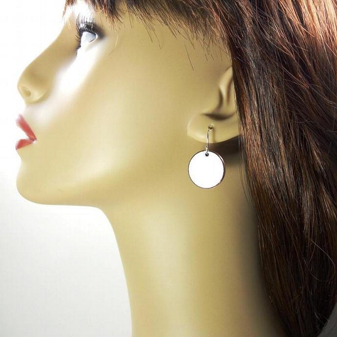 White Penny Earrings