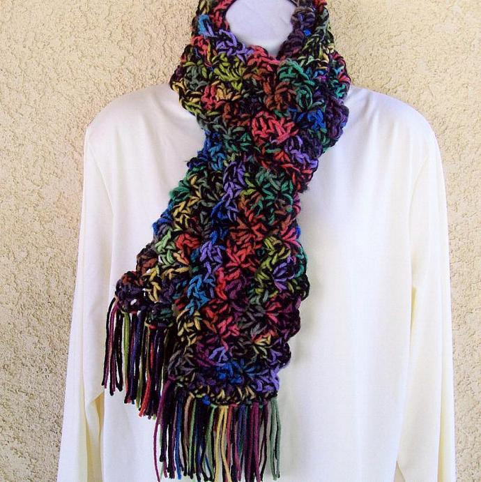 Winter Scarf, crocheted, chunky, 64 inches long - Stained Glass Medley