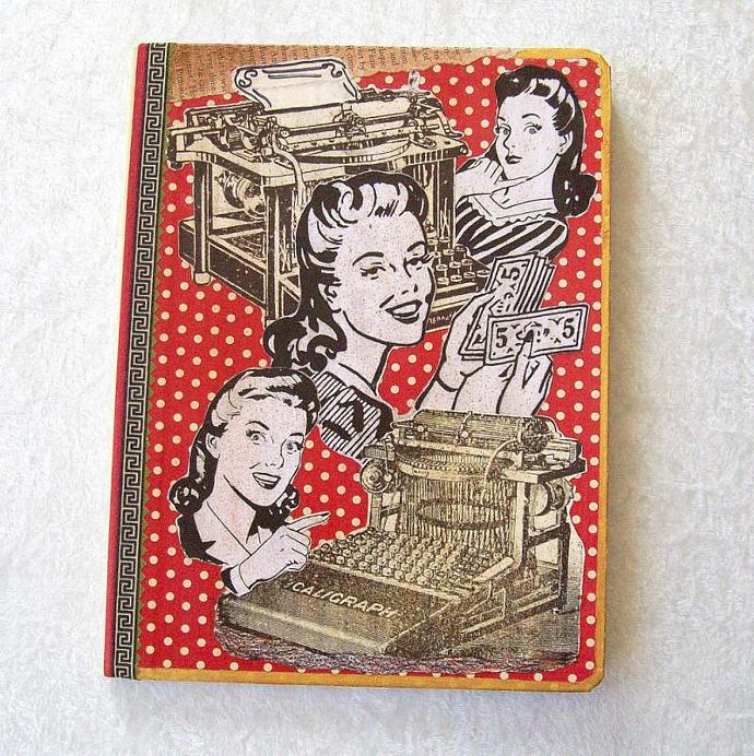 Journal - Composition Book, Quirky Idea Ladies collage cover - 9.75 x 7.5