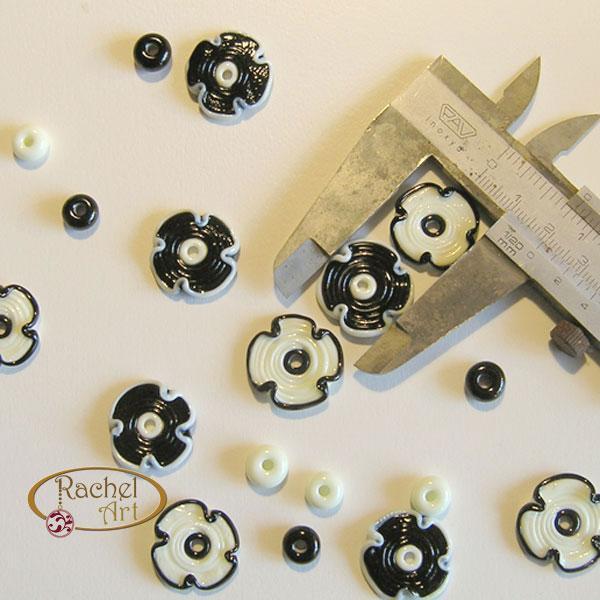 Handmade Lampwork Flower Glass Disc Beads-Black and White