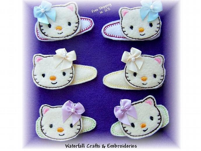 Felt Kitties Handcrafted Barrettes