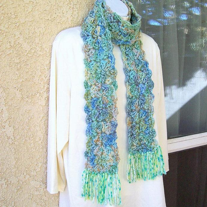 Winter Scarf, crocheted, chunky, 66 inches long - Sage Green Medley