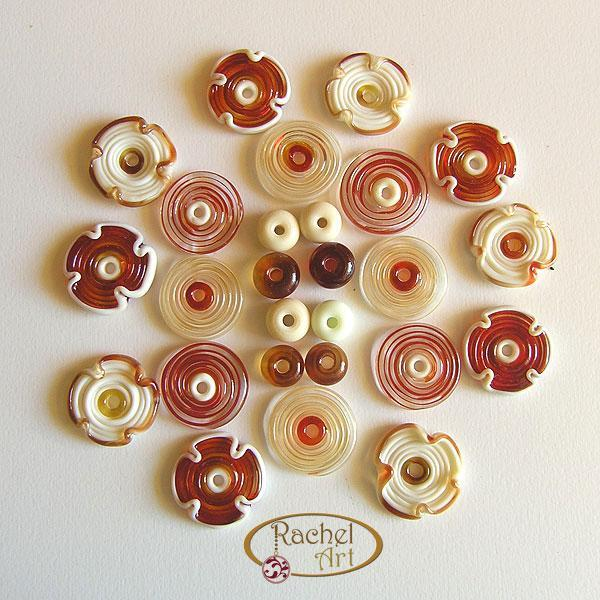 Handmade Lampwork Flower Glass Beads Set Red and Cream (26)