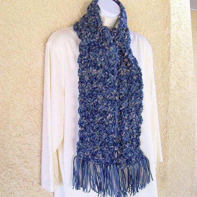 Winter Scarf, crocheted, chunky, 60 inches long - Denim Blues Medley